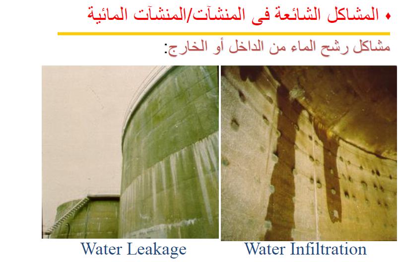 المشاكل الشائعة فى المنشآت المائية