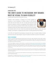 THE CMO'S GUIDE TO INSTAGRAM: WHY BRANDS MUST BE VISUALLY TO GAIN VISIBILITY